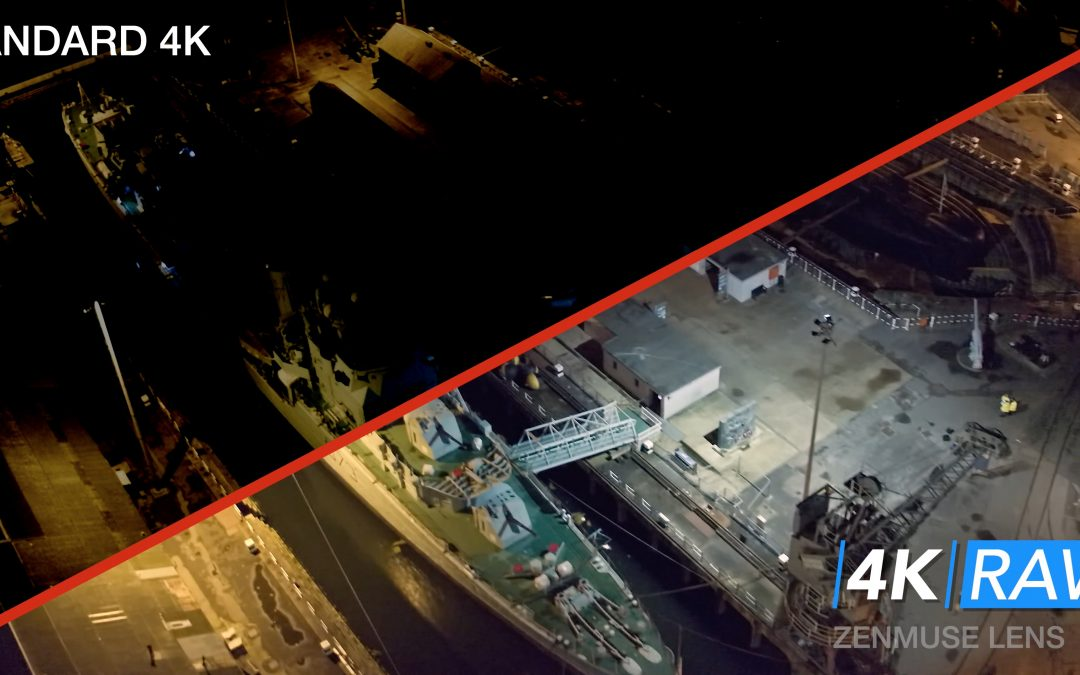 HMS Cavalier Night flight – 4K RAW COMPARISON demo