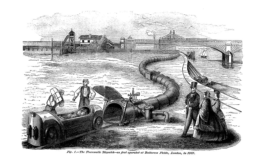Engraving of the London Pneumatic Despatch railway